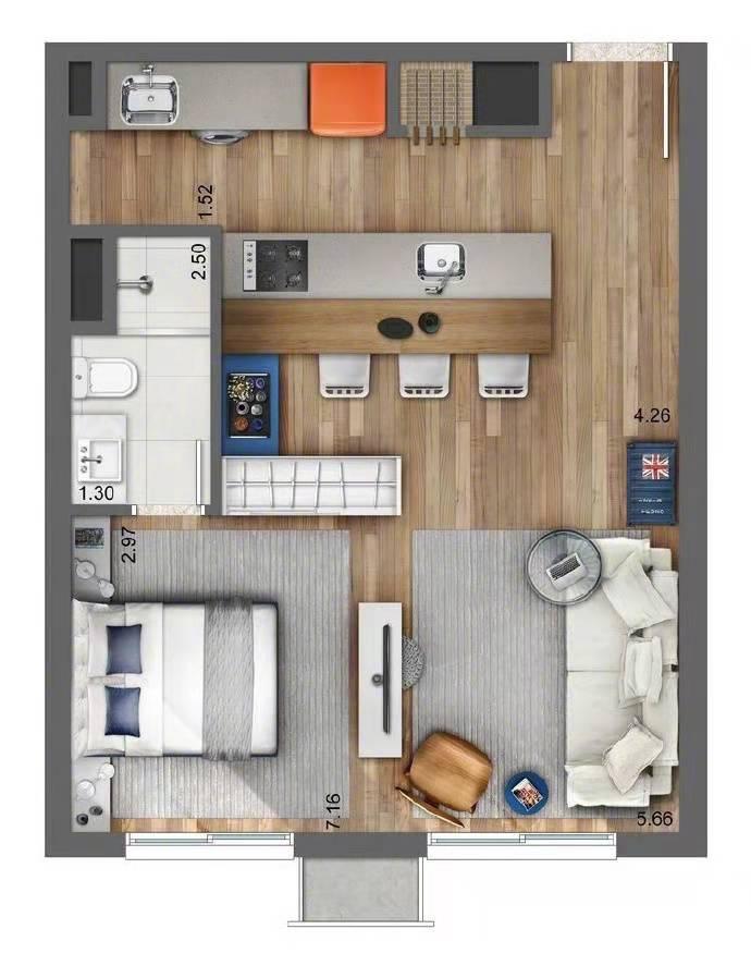 来看一居室设计方案,小空间玩出大花样